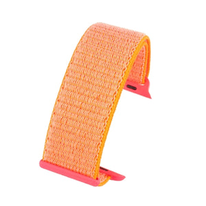 Apple iWatch Watch Strap Orange Hook and Loop Wrap around Fabric 38mm and 42mm