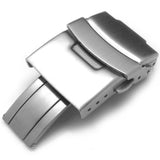 Strapcode Watch Clasp 18mm, 20mm, 22mm or 24mm Stainless Steel Push Button Diver Clasp for Watch Band, Brushed