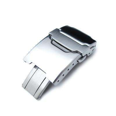 20mm Brushed Stainless Steel Push Button Diver Clasp for Watch Band, 4 adjust holes and improved Flip-Lock