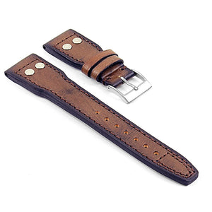 Strapsco DASSARI Continental Vintage Italian Leather Strap w/ Rivets - Short Length