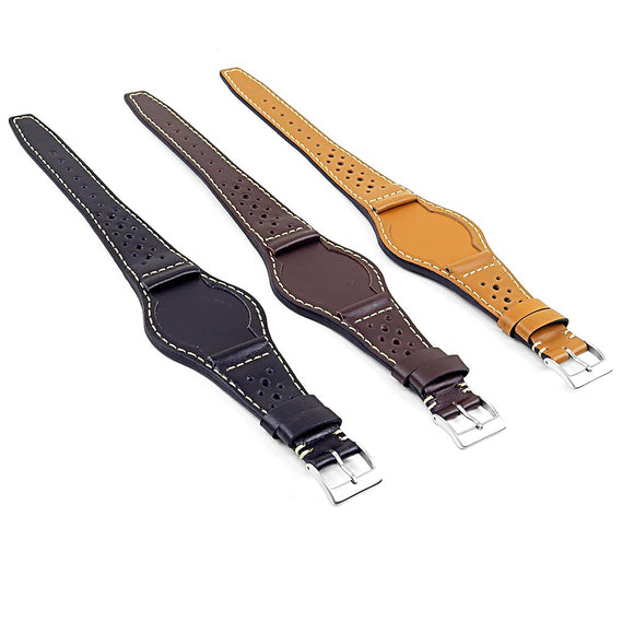 DASSARI Timber Leather Rally Bund Strap for Tudor Heritage Ranger