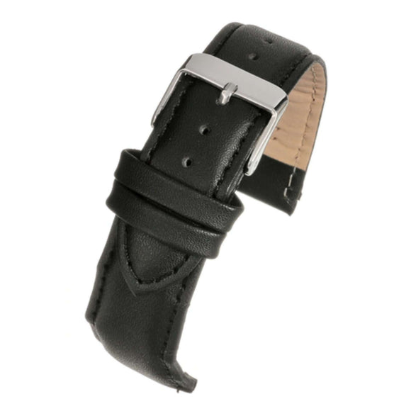 Leather Watch Strap Black Padded  - Economy Collection