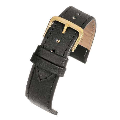 Leather Watch Strap Black Stitched Economy Collection