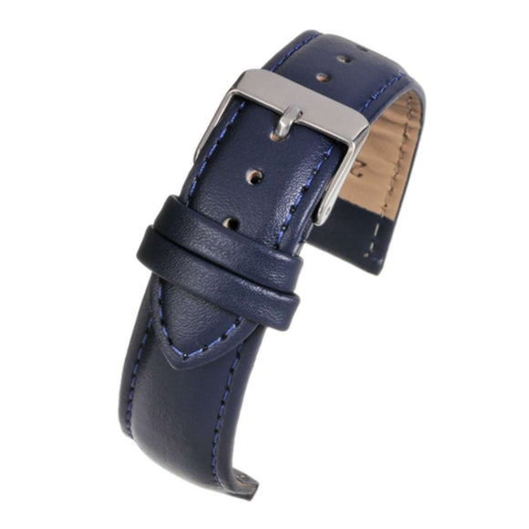 Leather Watch Strap Blue Padded   - Economy Collection