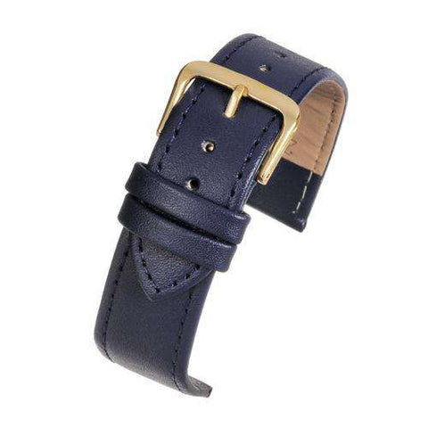 Leather Watch Strap Blue Stitched Economy Collection