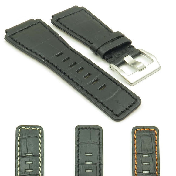 DASSARI Primo Crocodile Embossed Leather Strap for Bell and Ross