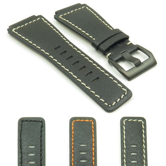 DASSARI Saffiano Leather Watch Strap for Bell & Ross with Matte Black Buckle