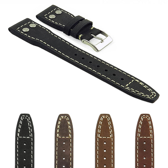DASSARI Dynasty Distressed Italian Leather Strap with Rivets