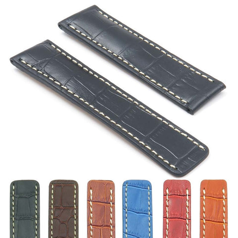 Breitling Watch Strap Padded Crocodile Embossed Leather for Deployment Clasp