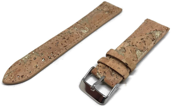 Cork Watch Strap Brown with Gold Flecks Vegan Stainless Steel Buckle 18mm and 20mm