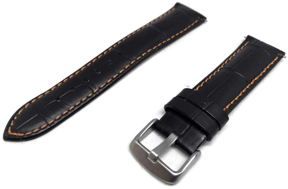 Black Croco Calf Watch Strap with Orange Stitching complete with quick release spring bars