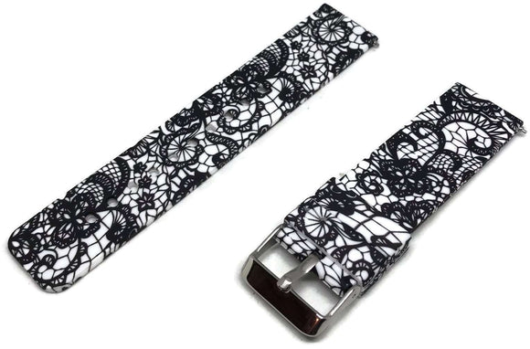 CLEARANCE Silicone Rubber Watch Strap Black Doodle Pattern 22mm with Quick Release Spring Bar