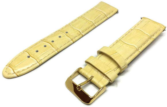 Crocodile Grain Watch Strap Beige Calf Leather Premier Quality Padded Size 12mm to 20mm