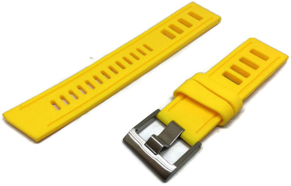 Yellow Isofrane Style Diving Watch Strap Vintage Ladder Style Size Stainless Steel Buckle