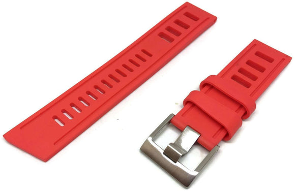 Red Diving Watch Strap Vintage Ladder Style Size Stainless Steel Buckle