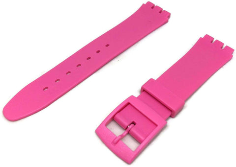 Swatch Style Resin Watch Strap Pink with Plastic Buckle Size 17mm