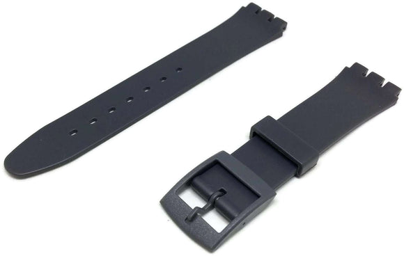 Swatch Style Resin Watch Strap Grey with Plastic Buckle Size 17mm
