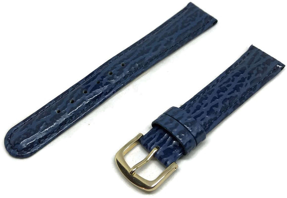 CLEARANCE Shark Grain Watch Strap Padded Dark Blue Gold Plated Buckle Size 2mm to 18mm