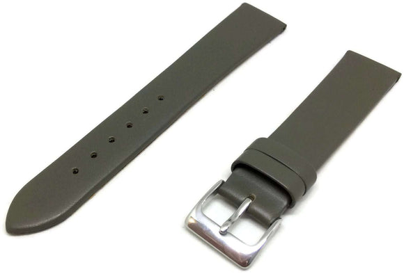 Calf Leather Watch Strap Grey with Chrome Buckle Sizes 12mm to 20mm