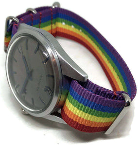 N.A.T.O G10 Zulu Watch Strap Rainbow Colours 18mm and 20mm Brushed Stainless Steel Buckle