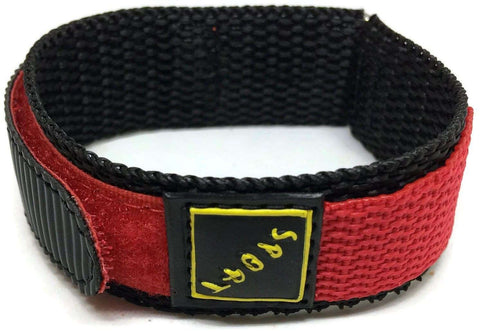 Velcro Watch Strap Red with Stainless Steel Ring and Sport Badge 14mm and 18mm