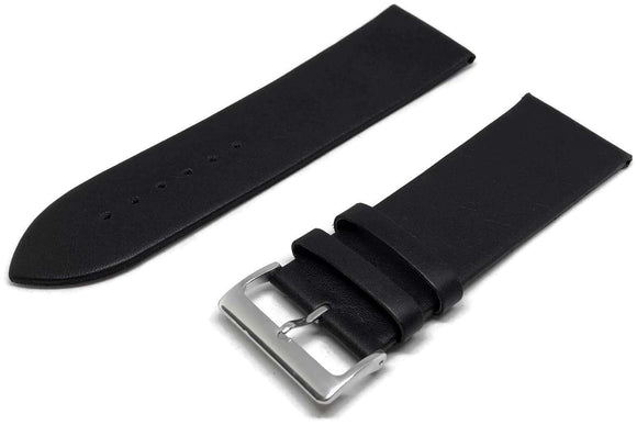 Calf Leather Watch Strap Black Extra Long Chrome Buckle 12mm to 30mm