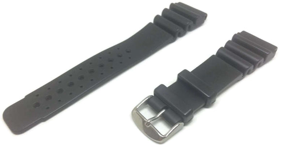 Extra Long Diving Watch Strap Black Thick Rubber Stainless Steel Buckle Sizes 18mm to 24mm