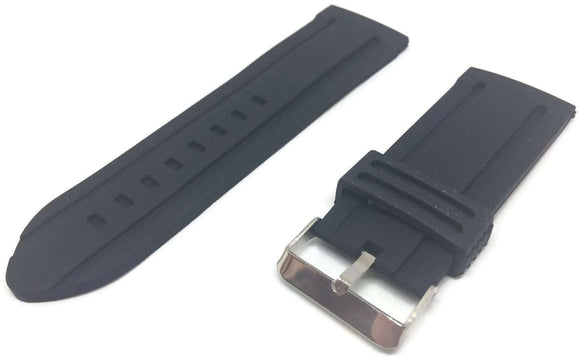 Black Silcone Watch Strap With Centre Rib and Stainless Steel Buckle Size 18mm to 30mm