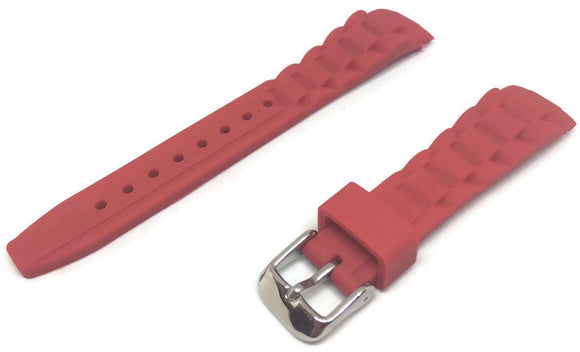 Ice Style Watch Strap Red with Stainless Steel Buckle 17mm, 20mm and 22mm