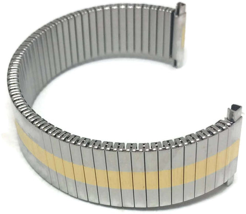 Expander Watch Bracelet Bi Colour Gold and Stainless Full Mirror 8mm to 18mm