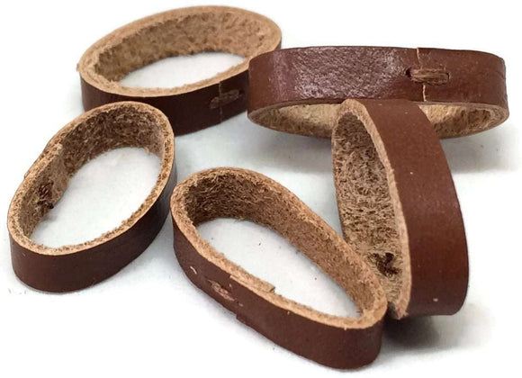 Watch Strap Keeper Leather Pack of 5 Brown