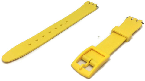 Swatch Style Resin Watch Strap Yellow with Yellow Plastic Buckle 12mm and 17mm