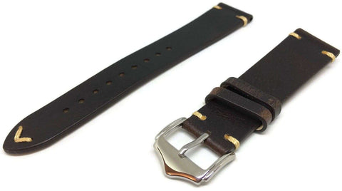 Calf Leather Watch Strap Black Distressed Leather Vintage Style Size 20mm and 22mm