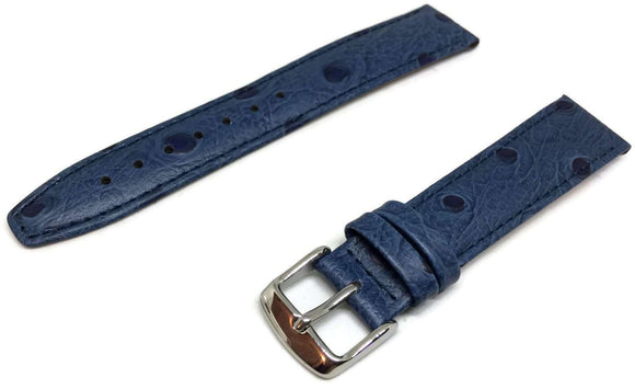 Ostrich Grain Watch Strap Blue Calf Leather Stainless Steel Buckle Size 12mm to 20mm