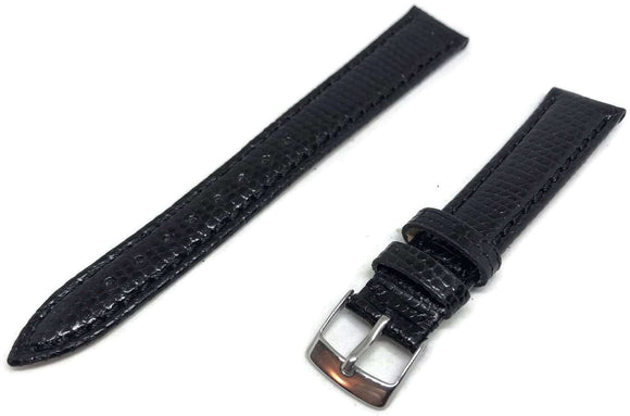 Genuine Italian Lizard Watch Strap Black Size 14mm to 20mm