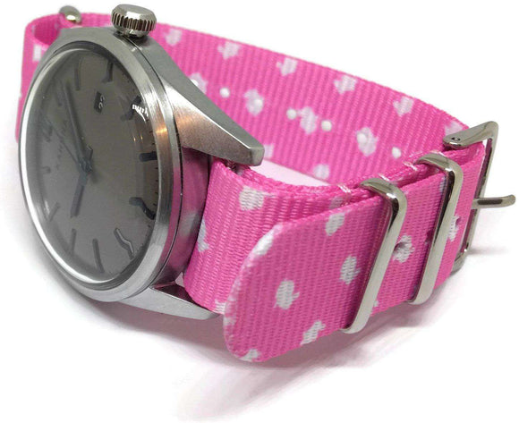 NATO Zulu G10 Style Watch Strap 20mm Pink with Rabbit Pattern Stainless Steel Buckle