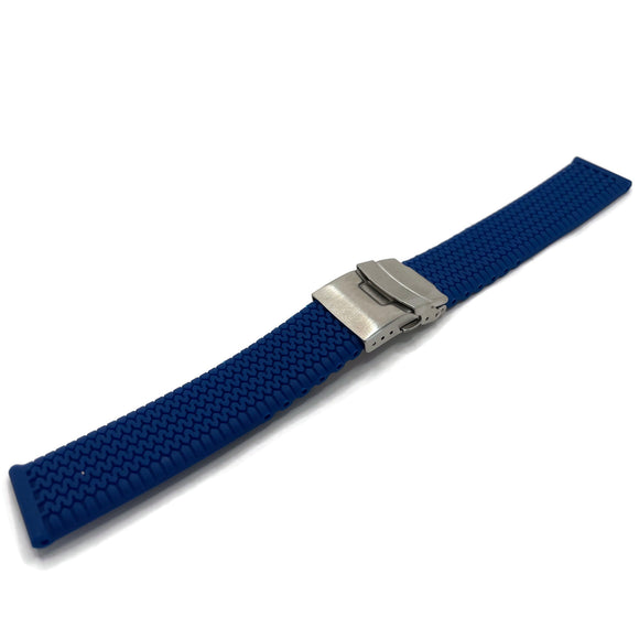 Rubber Watch Strap Royal Blue with Tread Pattern and 3 Fold Clasp 20mm and 22mm