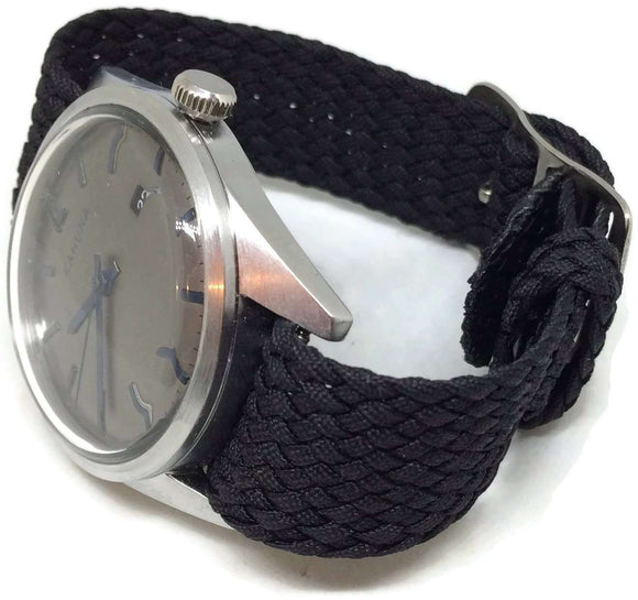 Perlon Watch Strap Black 20mm with Matt Stainless Steel Buckle