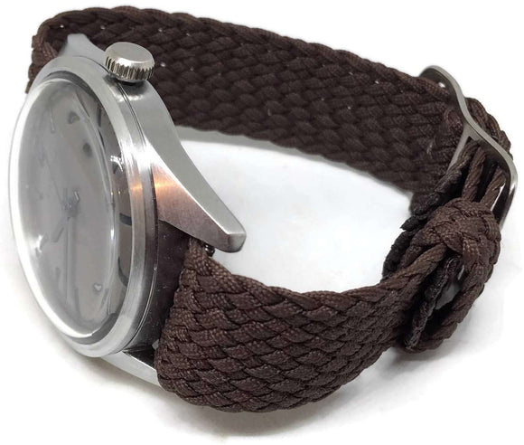 Perlon Watch Strap Brown 20mm with Matt Stainless Steel Buckle