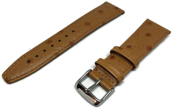 Ostrich Grain Watch Strap Tan Calf Leather Sizes 8mm to 20mm