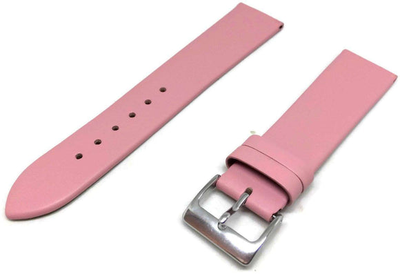 Calf Leather Watch Strap Pink with Chrome Buckle Size 12mm to 30mm