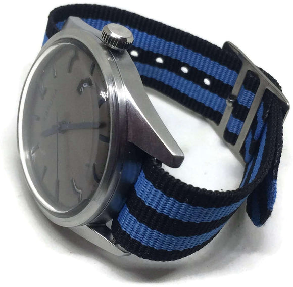 Nylon Watch Strap 2 Stripe Blue and Black 14mm to 20mm Stainless Steel Buckle