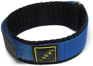 Velcro Watch Strap Blue with Stainless Steel Ring 14mm and 18mm