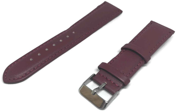 Calf Leather Watch Strap Red Padded with Stainless Steel Buckle 8mm to 30mm