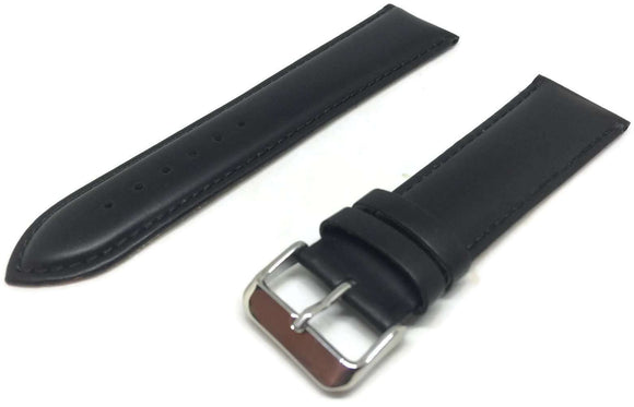 CLEARANCE Calf Leather Watch Strap Black Padded Chrome Buckle Sizes 22mm to 26mm