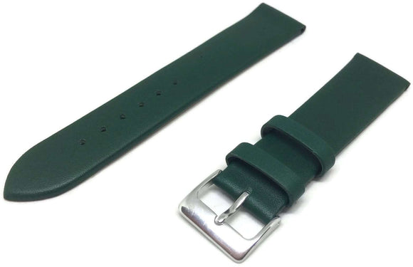 Calf Leather Watch Strap Green with Chrome Buckle Size 12mm to 30mm