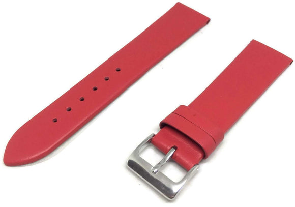 Calf Leather Watch Strap Red with Chrome Buckle Sizes 12mm to 30mm