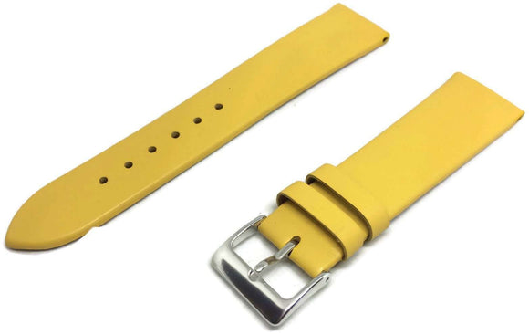 Calf Leather Watch Strap Yellow with Silver Coloured Buckle  Size 12mm to 30mm