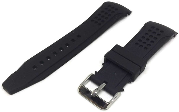 Black Rubber Watch Strap with Dimple Texture Curved End 22mm to 24mm