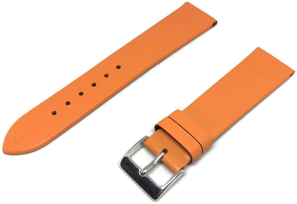 Orange Calf Leather Watch Strap with Chrome Buckle Sizes 12mm to 30mm